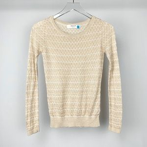 ANTHROPOLOGIE Sparrow Gold and Cream Sweat…